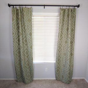 Set of 2 Mainstays Green Printed Curtains